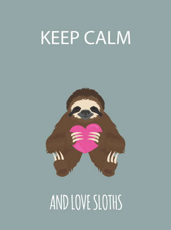 The story of one sloth. Love, wedding, honeymoon. Funny cartoon sloths in different postures set. Vector illustration Illustration