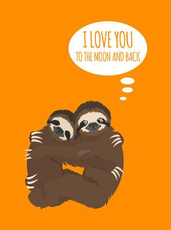 The story of one sloth. Love, wedding, honeymoon. Funny cartoon sloths in different postures set. Vector illustration Ilustração