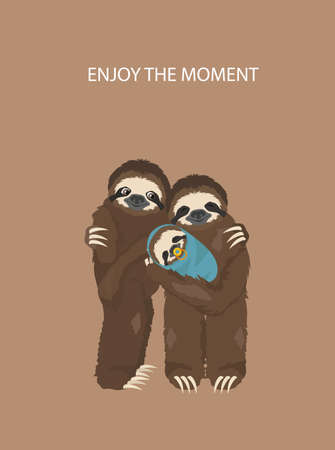 The story of one sloth. With family. Funny cartoon sloths in different postures set. Vector illustration