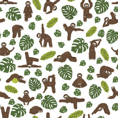 Sloth yoga seamless pattern. Funny cartoon animals in different postures set. Vector illustration
