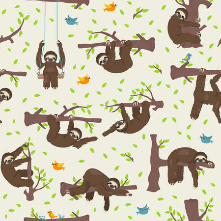 Funny cartoon sloths hanging from the trees. Seamless pattern. Vector illustration