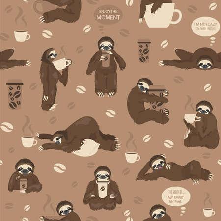 Les paresseux boivent un modèle sans couture de café. Animaux de dessin animé drôles dans différentes postures. Illustration vectorielle Vecteurs