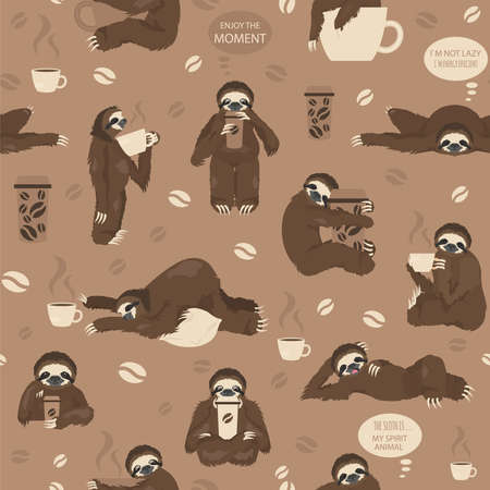 Sloths drink coffee seamless pattern. Funny cartoon animals in different postures set. Vector illustration