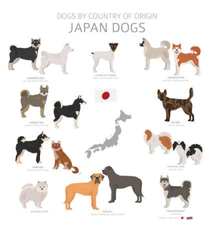 Honden naar land van herkomst. Japanse hondenrassen. Herders-, jacht-, hoed-, speelgoed-, werk- en hulphondenset. vector illustratie Vector Illustratie