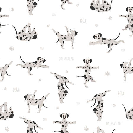 Yoga dogs poses and exercises. Dalmatian seamless pattern. Vector illustration Illustration