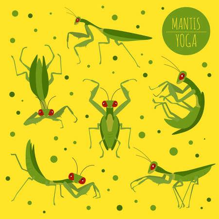 Mantis yoga poses and exercises. Cute cartoon clipart set. Vector illustration