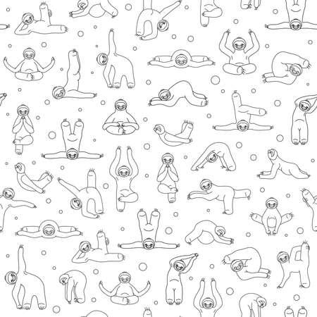 Sloth yoga seamless pattern. Funny cartoon animals in different postures set. Thin line design. Vector illustration Illustration