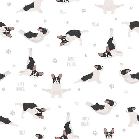 Yoga dogs poses and exercises. French bulldog seamless pattern. Vector illustration Illustration
