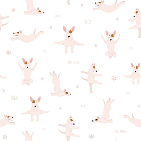 Yoga dogs poses and exercises. Bull terrier seamless pattern. Vector illustration Illustration