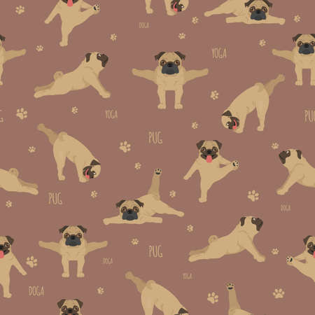 Yoga dogs poses and exercises. Pug seamless pattern. Vector illustration