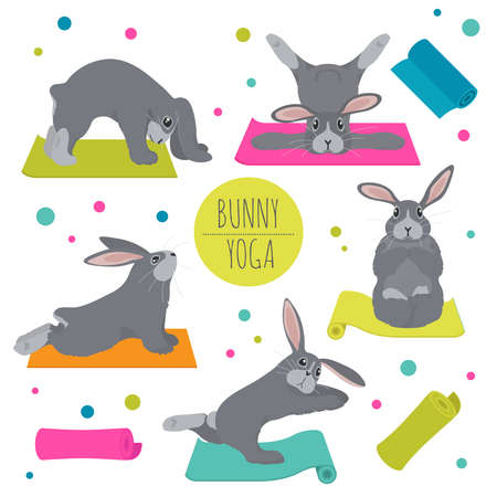Bunny yoga poses and exercises. Cute cartoon clipart set. Vector illustration Illustration