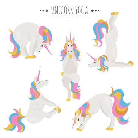 Posturas y ejercicios de yoga unicornio blanco. Conjunto de imágenes prediseñadas de dibujos animados lindo. Ilustración vectorial Ilustración de vector