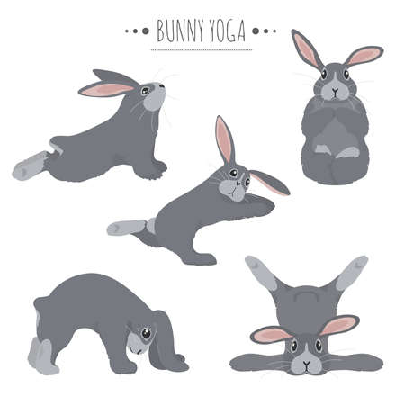 Bunny yoga poses and exercises. Cute cartoon clipart set. Vector illustration