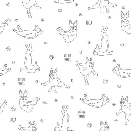 Yoga dogs poses and exercises. French bulldog linear seamless pattern.