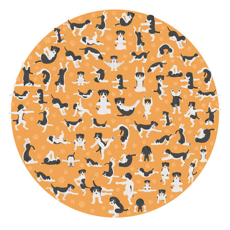 Yoga dogs poses and exercises doing clipart. Funny cartoon poster design. Vector illustration Illustration