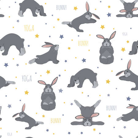 Bunny yoga poses and exercises. Cute cartoon seamless pattern design. Vector illustration Illustration