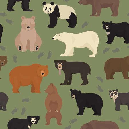 All world bear species in one set. Bears seamless pattern. Vector illustration Иллюстрация