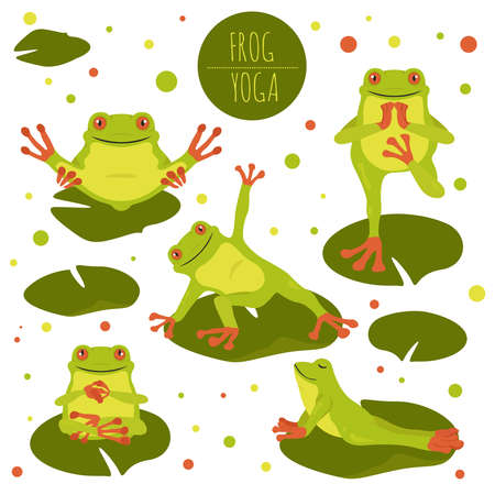 Frog yoga poses and exercises. Cute cartoon clipart set. Vector illustration Ilustração
