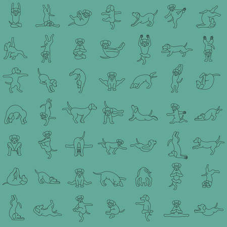 Yoga dogs poses and exercises doing clipart. Funny cartoon simple outline seamless pattern design. Vector illustration
