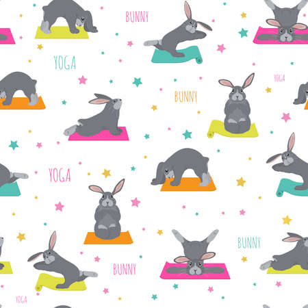Bunny yoga poses and exercises. Cute cartoon seamless pattern design. Vector illustration  イラスト・ベクター素材