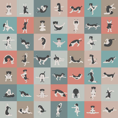 Yoga dogs poses and exercises doing clipart. Funny cartoon poster seamless pattern design. Vector illustration Illustration