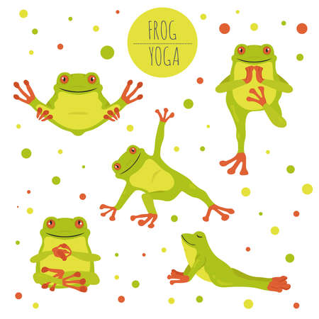 Poses et exercices de yoga de grenouille. Ensemble de cliparts de dessin animé mignon. Illustration vectorielle Vecteurs
