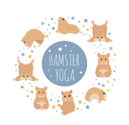 Hamsters yoga poses and exercises. Cute cartoon clipart set. Vector illustration Illustration