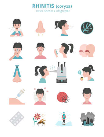 Nasal diseases. Rhinitis symptoms, treatment icon set. Medical infographic design. Vector illustration