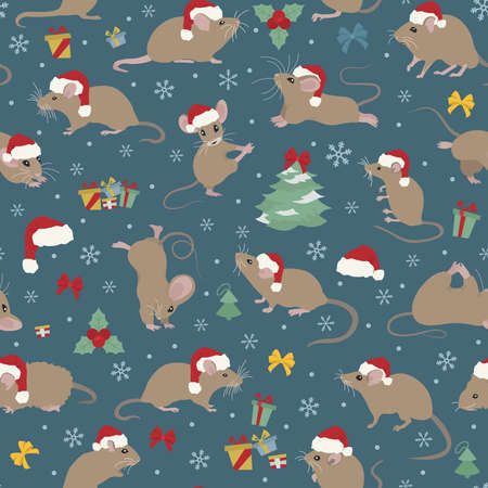 Mice christmas seamless pattern. Mouse poses and exercises. Cute cartoon new year clipart set. Vector illustration