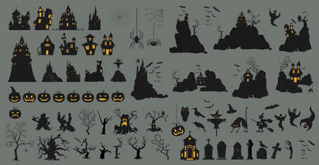 Halloween holiday constructor. Graphic template. Flat icons. Vector illustration Vectores