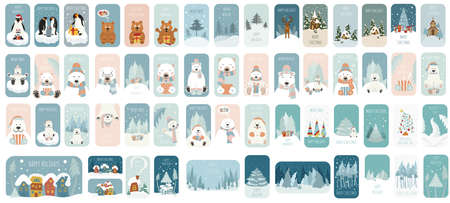 Cute winter holiday sticker icon set. Elements for christmas greeting card, poster design. Vector illustration Illusztráció