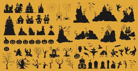 Halloween holiday constructor. Graphic template. Flat icons. Vector illustration Ilustração