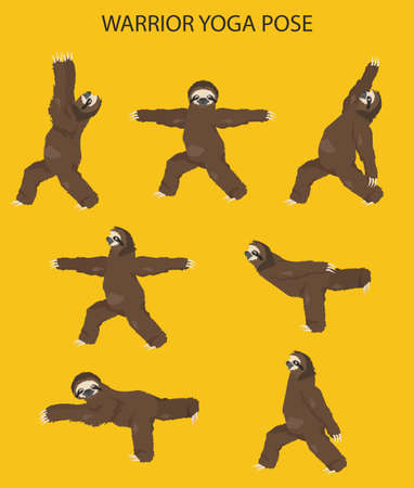Sloth yoga collection. Warrior yoga position. Funny cartoon animals in different postures set. Vector illustration