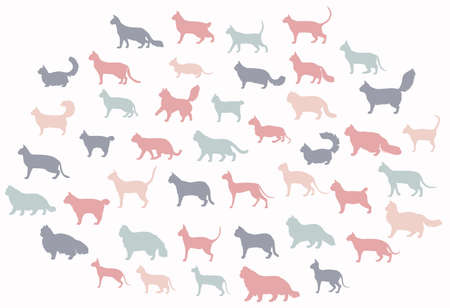 Cat breeds icon set flat style isolated on white. Cartoon silhouettes cats characters collection. Vector illustration Illustration