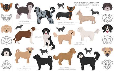 Perros de diseño, mestizos, colección de perros de mezcla híbrida aislado en blanco. Conjunto de perro de imágenes prediseñadas de estilo plano. Ilustración vectorial