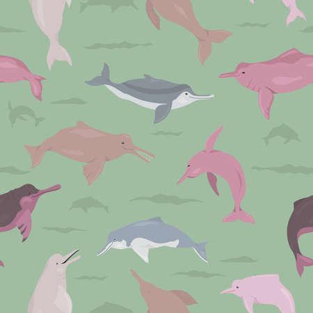 River dolphins seamless pattern. Marine mammals collection. Cartoon flat style design. Vector illustration 일러스트