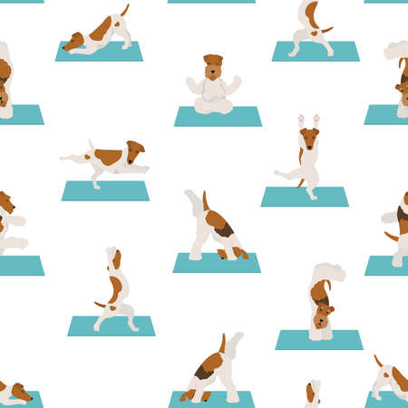 Yoga dogs poses and exercises poster design. Smooth fox terrier and wire fox terrier seamless pattern. Vector illustration