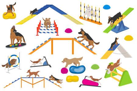 Ensemble d'équipement de terrain de jeu pour chiens. Conception de chiens jouant à plat de couleur. Illustration vectorielle Vecteurs
