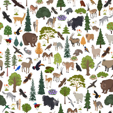 Montane forest biome, natural region seamless pattern. Terrestrial ecosystem world map. Animals, birds and vegetations ecosystem design set. Vector illustration