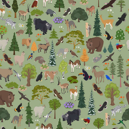 Montane forest biome, natural region seamless pattern. Terrestrial ecosystem world map. Animals, birds and vegetations ecosystem design set. Vector illustration