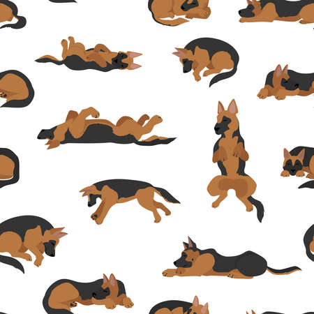 Sleeping dogs poses seamless pattern. German shepherd dogs. Vector illustration