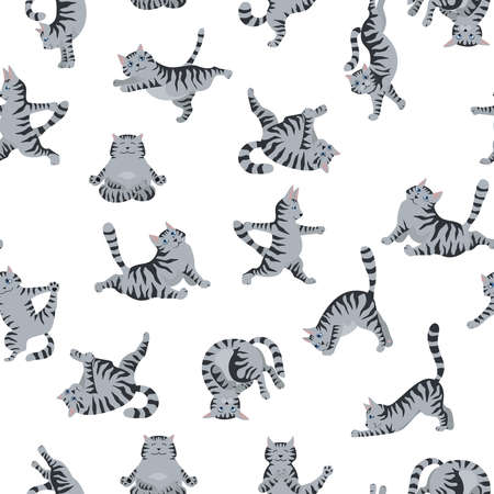 Cats yoga seamless pattern. Different yoga poses and exercises. Striped and tabby cat colors. Vector illustration