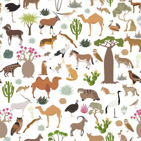 Desert biome, xeric shrubland biome, natural region seamless pattern. Terrestrial ecosystem world map. Animals, birds and vegetations design set. Vector illustration