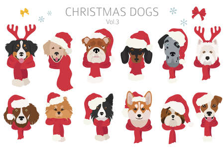 Dog portraits in Santa hats and scarves. Christmas holiday design. Vector illustration Vettoriali