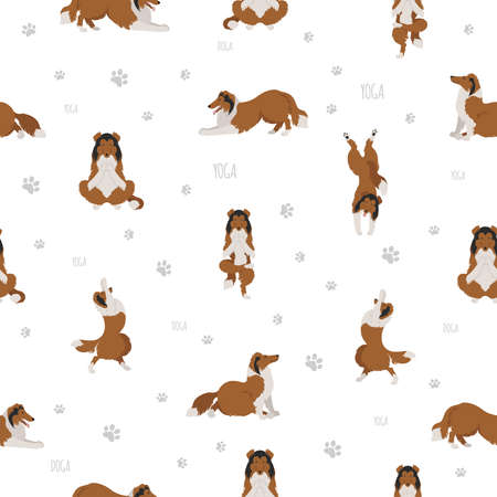 Yoga dogs poses and exercises. Rough collie yoga seamless pattern. Vector illustration  イラスト・ベクター素材