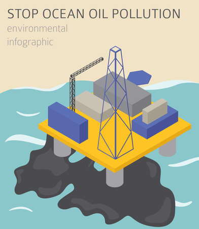 Global environmental problems. Ocean pollution isometric infographic. Vector illustration