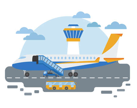 Special machinery collection. Airport ground support service transportation colored vector icon set isolated on white. Illustration vector design