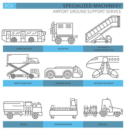 Special machinery collection. Airport ground support service linear vector icon set isolated on white. Illustration