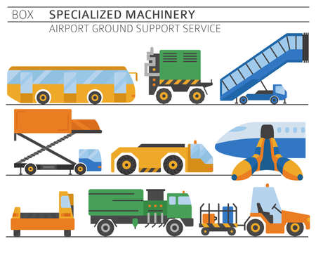 Special machinery collection. Airport ground support service colored vector icon set isolated on white. Illustration