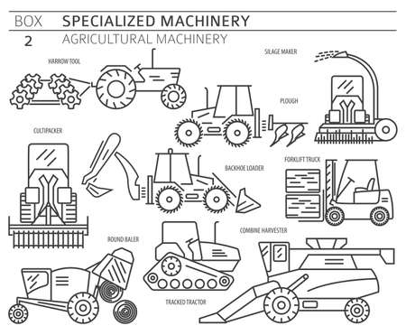 Special agricultural machinery linear vector icon set isolated on white. Illustration Vector Illustratie